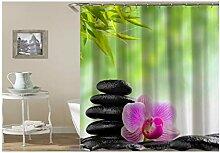 Knbob Duschvorhang Waschbar Steinorchideen-Bambus