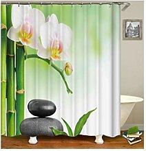 Knbob Polyester Duschvorhang Bambus mit 12