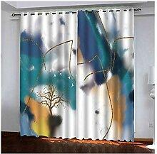Knbob Polyester Gardinen Blau Aquarelle