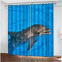 Knbob Polyester Gardinen Blau Delfin Blackout