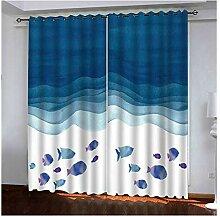 Knbob Polyester Gardinen Blau Fischmeer