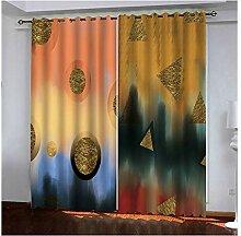Knbob Polyester Gardinen Gold Geometriedreieck