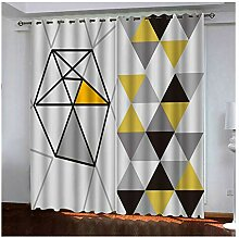 Knbob Polyester Gardinen Grau Gelb Dreieck