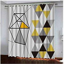 Knbob Polyester Gardinen Grau Gelb Dreieck Vorhang