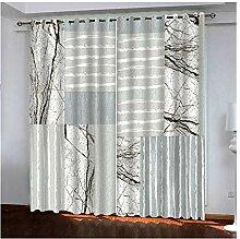 Knbob Polyester Gardinen Grau Streifen