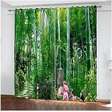 Knbob Polyester Gardinen Grün Bambuswald