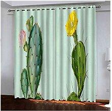Knbob Polyester Gardinen Grün Kaktus Gardinen