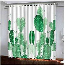 Knbob Polyester Gardinen Grün Kaktus Vorhänge