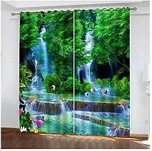 Knbob Polyester Gardinen Grün Wasserfallwald