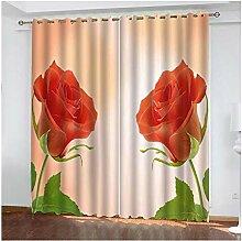 Knbob Polyester Gardinen Rot Rose Gardinen für