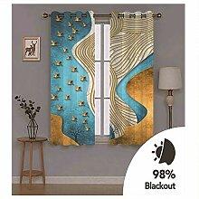Knbob Polyester Vorhänge Blau Gelb Abstrakte