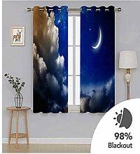 Knbob Polyester Vorhänge Blau Wolken und Mond
