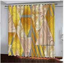 Knbob Polyester Vorhänge Gelb Geometrie Gardinen