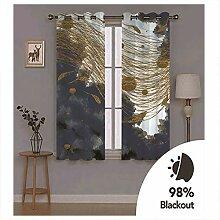 Knbob Polyester Vorhänge Gold Schwarz Abstrakte