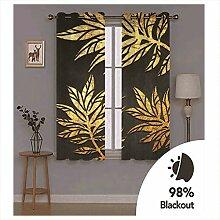 Knbob Polyester Vorhänge Gold Schwarz Blätter