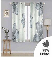 Knbob Polyester Vorhänge Grau Blumen Gardinen