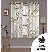Knbob Polyester Vorhänge Grau Gebogene Streifen
