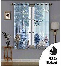 Knbob Polyester Vorhänge Hellblau Vogel Bäume