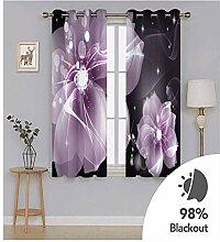 Knbob Polyester Vorhänge Rosa Blumen Gardinen