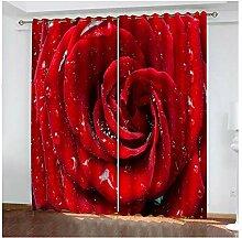 Knbob Polyester Vorhänge Rot Rose Gardinen für