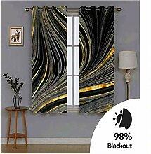 Knbob Polyester Vorhänge Schwarz Gelb Abstrakte