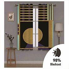Knbob Polyester Vorhänge Schwarz Gold Geometrisch