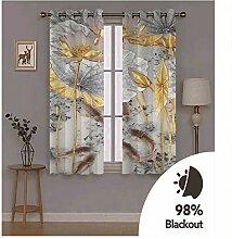 Knbob Polyester Vorhänge Weiß Grau Blume und