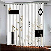 Knbob Polyester Vorhänge Weiß Schwarz Abstrakte