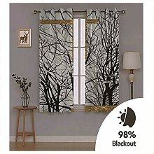 Knbob Polyester Vorhänge Weiß Schwarz Baumzweig