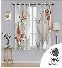 Knbob Polyester Vorhänge Weiß und Rosa Geometrie