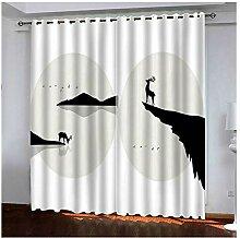 Knbob Polyester Vorhänge Weiß und Schwarz