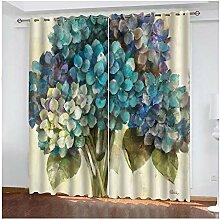 Knbob Polyester Vorhang Blau Blumenstrauß Blumen
