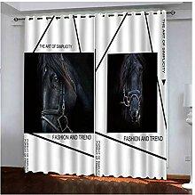 Knbob Polyester Vorhang Weiß und Schwarz Pferd