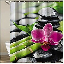 Knbob Qualität Duschvorhang Bambus mit Blume