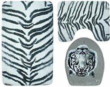 Knbob Teppich Set 3 Teilig Weißer Tiger Weißer