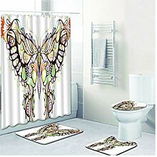 Knbob Wc Teppich Set 5 Teilig Schmetterling