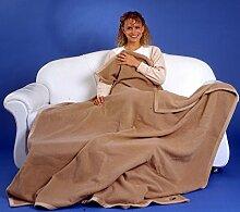 Kniedecke Wolle Angorawolle beige Größe 75x100 cm