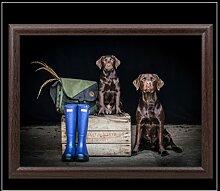 Knietablett mit Labrador und Welpen, 33 x 44 cm,