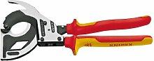 Knipex Werkzeuge 9536320Drei Stage Drive Ratsche Kabelschneider mit isoliert 1000V Griff, rot/gelb