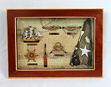 Knotentafel hinter Glas 36x26,5cm mit Dreimaster, Steuerrad