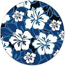 Kobaltblaue Pflanze Hibiskus Blechschild Vintage