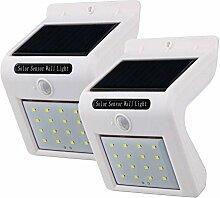 KOBWA 16 LED Wasserdichte Weitwinkel Solarleuchten, Solar Betriebene Außenleuchte, Sicherheit Licht für Garten, Zaun, Garage, Deck, Patio (2stück,Weiß)