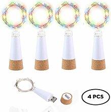 KOBWA 4 Stück Weinflaschen-Kork-Lichterkette, USB