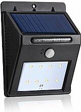 Kobwa 8 LED Solarleuchte Solarlampe Drahtlose Wetterfeste Außenleuchte mit Bewegungsmelder