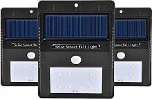 Kobwa 8 LED Solarleuchte Solarlampe Drahtlose Wetterfeste Außenleuchte mit Bewegungsmelder - 3 Stück