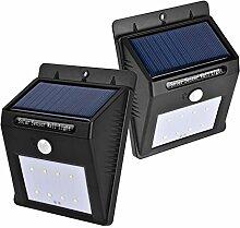 Kobwa 8 LED Solarleuchte Solarlampe Drahtlose Wetterfeste Außenleuchte mit Bewegungsmelder - 2 Stück