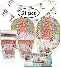 KOBWA Einhorn Birthday Party Supplies Set