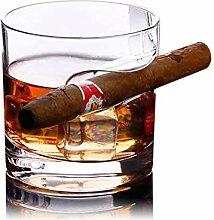 KOBWA Whiskyglas mit Zigarrenhalter, 320 ml