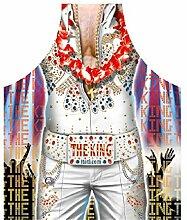 Koch Bistro Grill Karneval Schürze mit GRATIS Flaschendeko Weihnachten: Elvis The King Las Vegas