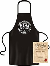 Koch-Küchen-Grill-Schürze Aufdruck: Beste Mama der Welt mit gratis Urkunde cooles Weihnachtsgeschenk Geburtstagsgeschenk Geschenke Mutter Farbe: schwarz